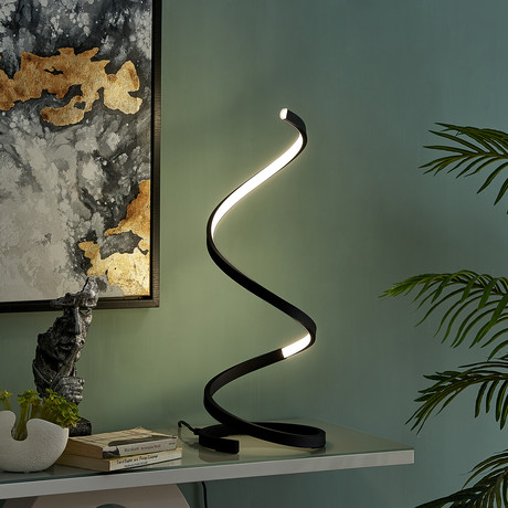 Modern Spiral Table Lamp // LED Strip (Gold)