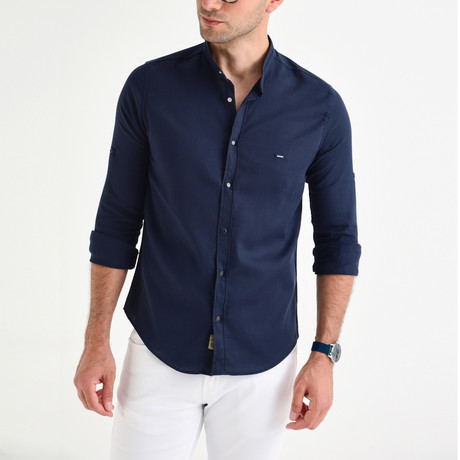 Milo Button Down Shirt // Navy Blue (XL)