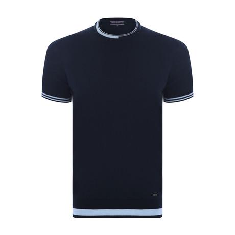 Dyson Neck Knitwear T-Shirt // Navy (XS)