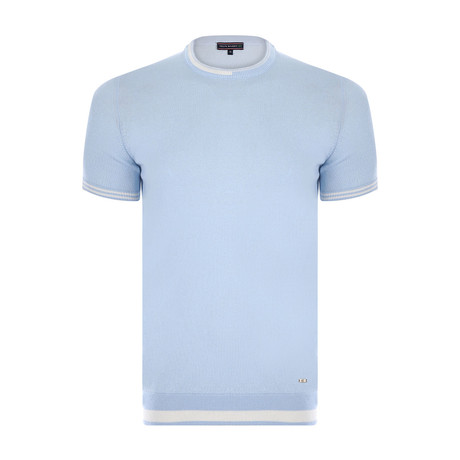 Justin Neck Knitwear T-Shirt // Light Blue (XS)