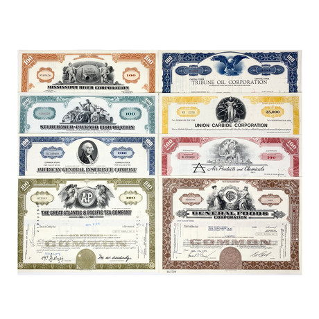 Master Collection of 75 Stock & Bond Certificates: Great American Corporations (1920's - 1970's)