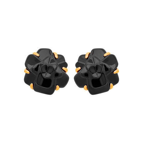 Chanel 18k Yellow Gold Camelia Onyx Earrings // Pre-Owned
