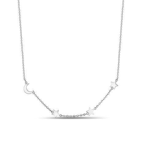 Moon + Stars Necklace // White