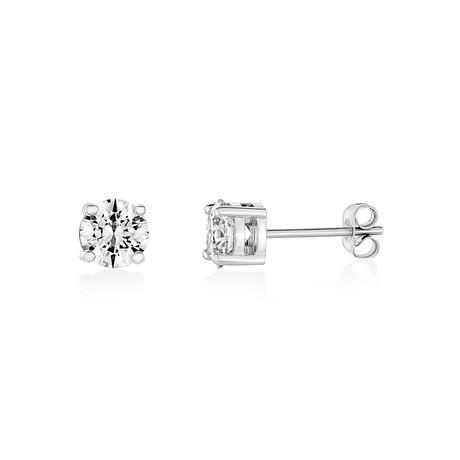 Cubic Zirconia Stud Earrings // 6.5mm // White