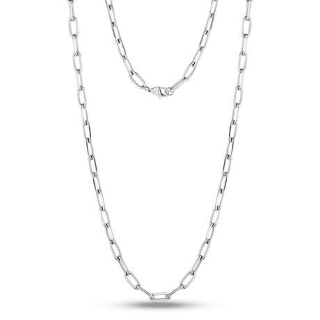 Paper Clip Necklace (White)