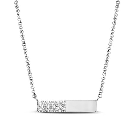 Cubic Zirconia Bar Necklace // White
