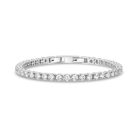 "Cubic Zirconia + Stainless Steel Tennis Bracelet // 4mm // White (6.5"")"
