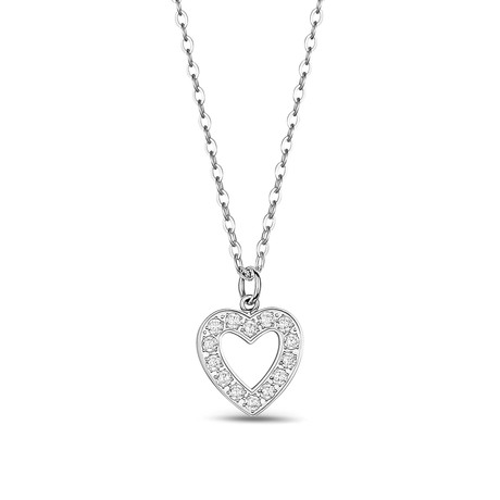 CZ Heart Stainless Steel Pendant + Chain // White