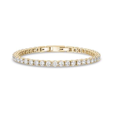 "Cubic Zirconia + Stainless Steel Tennis Bracelet // 4mm // Yellow (6.5"")"