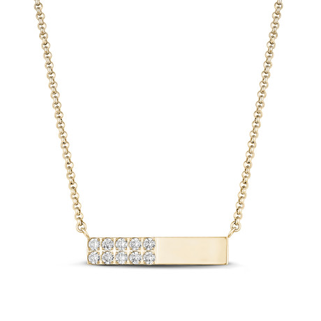 Cubic Zirconia Bar Necklace // Yellow
