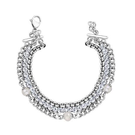 Triple Row Tennis Pearl Bracelet // White