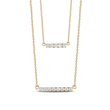 Cubic Zirconia Double Bar Necklace (Yellow)