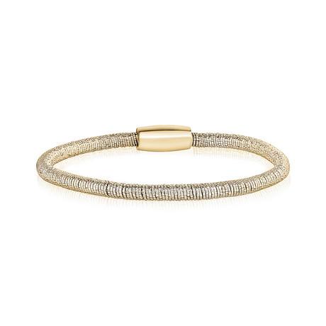 Diamond Cut Swirl Steel Bracelet (White)