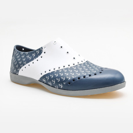 Patterns Anchor Oxford // Blue + White (US: 7)