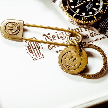 Smiley Pin // Keyring // Brass