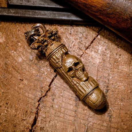 Bullet with Skull // Pendant // Brass