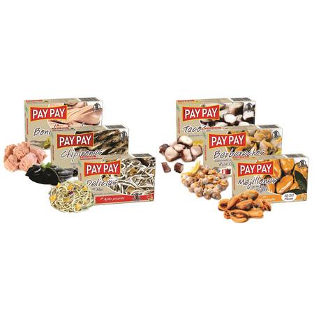 Tapas Tins // Set of 6 // Mussels + Tuna + Stuffed Squid + Baby Eels + Cockles + Giant Calamari // 4 oz Each