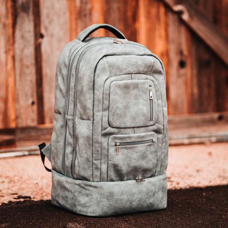 Luxury Travel Bag // Tumbled Leather // Gray