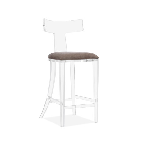 Tristan Klismos Bar Stool // Gray Velvet