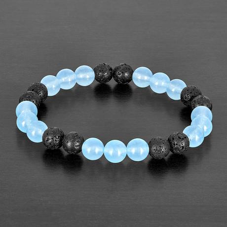 Quartz + Lava Stone Beaded Bracelet // Black + Blue