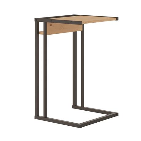 Finley End Table // Birch Melamine + Black Metal Painted Frame