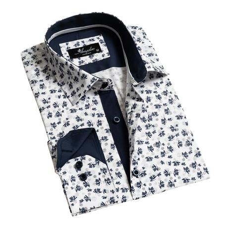 Reversible Cuff Long-Sleeve Button-Down Shirt // White + Navy Blue (XS)