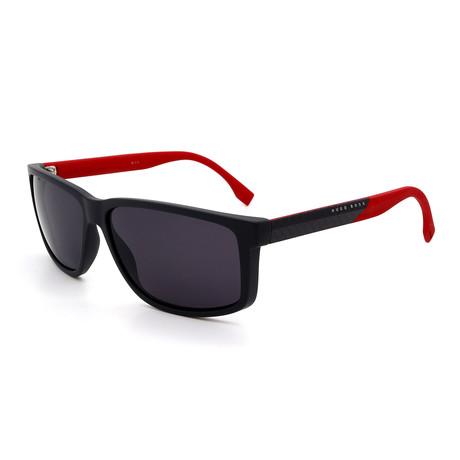 Hugo Boss // Men's 0833-S-HWS Polarized Sunglasses // Black + Carbon Fiber Red + Gray