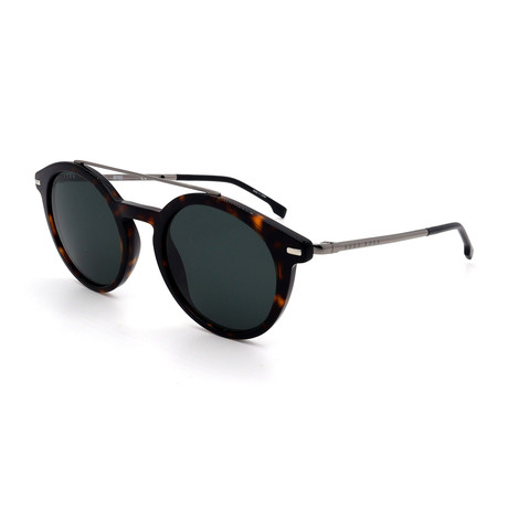 Hugo Boss // Men's 0929-S-086 Round Sunglasses // Dark Havana + Silver