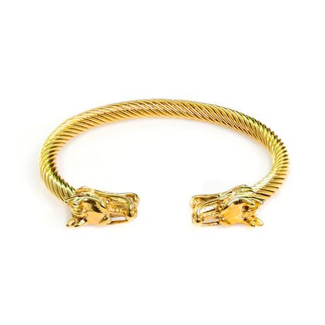 Dell Arte // Dragon Head Cable Bangle // Gold