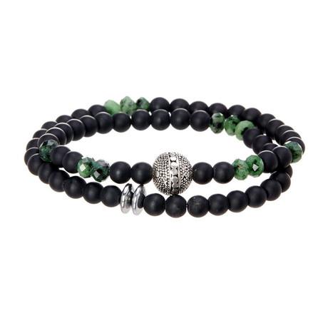 Dell Arte // Double Wrap Onyx Bracelet + Ruby Zoisite Healing Stones // Black + Green + Silver