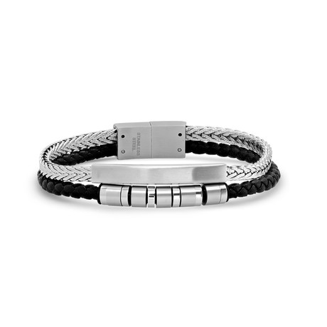 Double Layer Braided Leather + Stainless Steel Wheat Chain ID Bracelet // Silver + Black