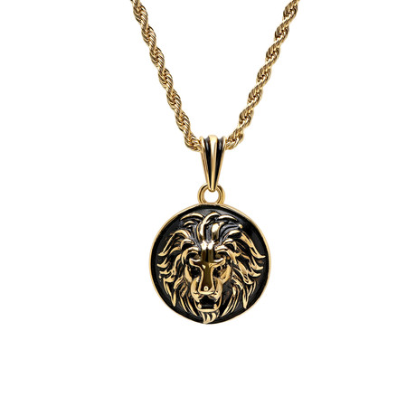 Stainless Steel Lion Head Mount Pendant Necklace // Yellow