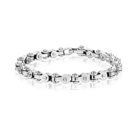 "Steel Bicycle Chain Bracelet // Silver (7.5""L)"