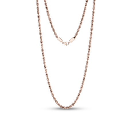 "Steel Rope Chain Necklace // 4mm // Rose (20""L)"
