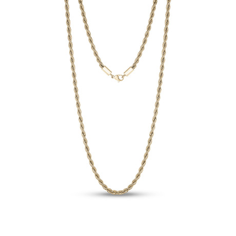 "Steel Rope Chain Necklace // 4mm // Gold Plated (20""L)"
