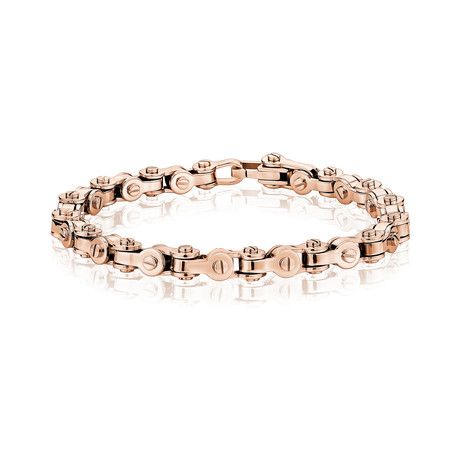 """Steel Bicycle Chain Bracelet // Rose Gold (7.5""""L)"""