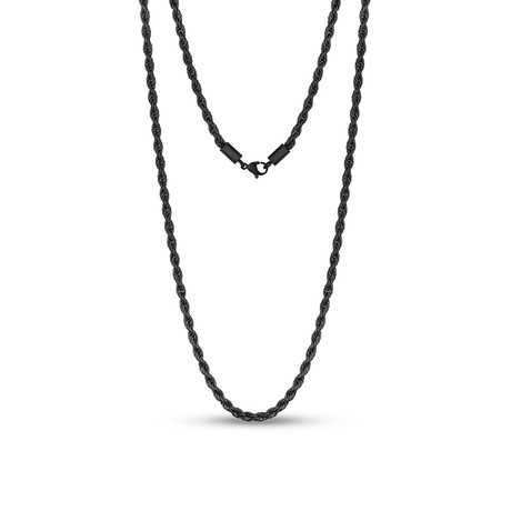 "Steel Rope Chain Necklace // 4mm // Black (20""L)"