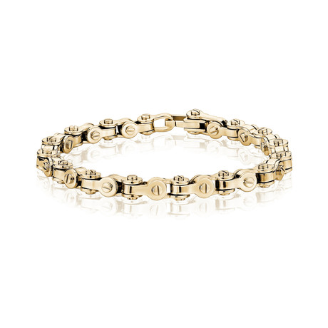 """Steel Bicycle Chain Bracelet // Gold (7.5""""L)"""