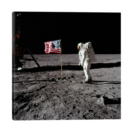 """Neil Armstrong Placing American Flag on the Moon // NASA (26""""W x 26""""H x 1.5""""D)"""
