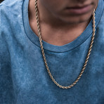 """Steel Rope Chain // 6mm // Gold Plated (20""""L)"""