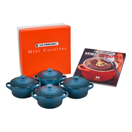 Set of 4 Cocottes + Mini-Cocotte Cookbook (Deep Teal)