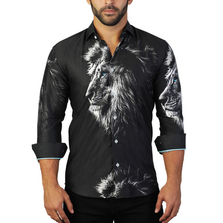 Lion Print Dress Shirt // Black (S)