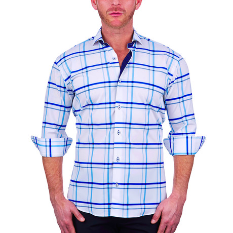 Einstein Dress Shirt // White + Blue Plaid (S)