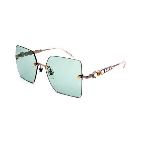 Unisex GG0644S-002 Fashion Sunglasses // Blue + Silver