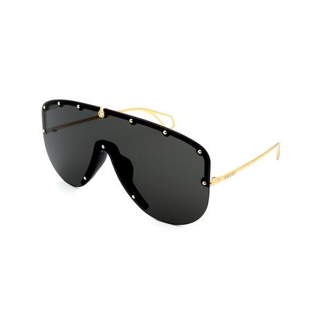 Men's GG0667S-001 Studs Shield Sunglasses // Gray + Gold