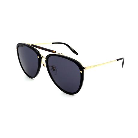 Men's GG0672S-001 Aviator Sunglasses // Black + Gold