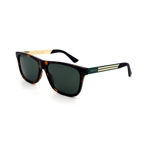 Men's GG0687S-003 Sunglasses // Havana + Green + Gold