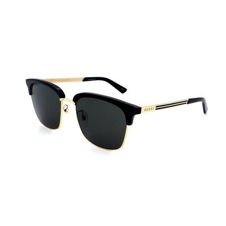 Men's GG0697S-001 Clubmaster Style Sunglasses // Black + Gold