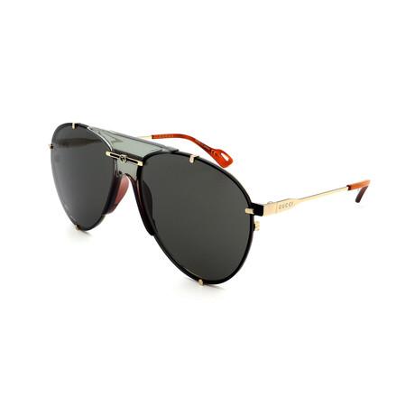 Men's GG0740S-001 Limited Edition Aviator Sunglasses // Gold + Gray