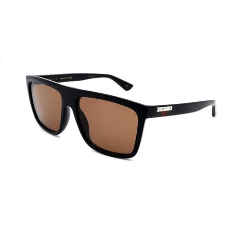 Men's GG0748S-002 Sunglasses // Black + Brown